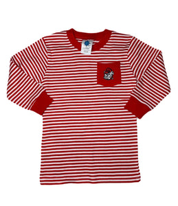 Georgia Striped Long Sleeve Pocket Tee - Posh Tots Children's Boutique