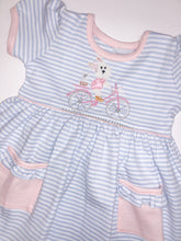 Load image into Gallery viewer, 12m & 18m Bicycle Bunny Short Sleeve Popover Dress - Posh Tots Children's Boutique