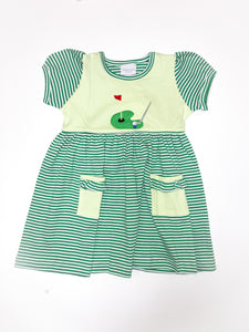 Golf Green Short Sleeve Popover Dress - Posh Tots Children's Boutique