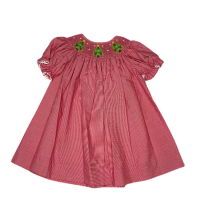 Smocked Christmas Tree Bishop Dress - Posh Tots Children's Boutique
