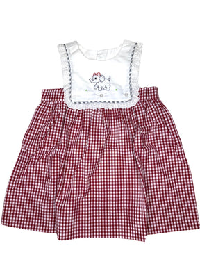 Burgundy Elephant Dress with Eyelet - Posh Tots Children's Boutique