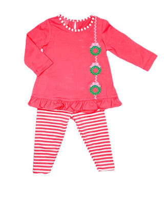 Wreath Tunic Blouse with Leggings - Posh Tots Children's Boutique