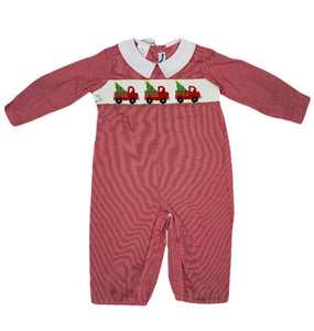 Smocked Christmas Trucks Longall - Posh Tots Children's Boutique