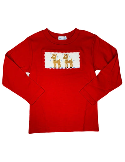 Smocked Reindeer Red Shirt - Posh Tots Children's Boutique