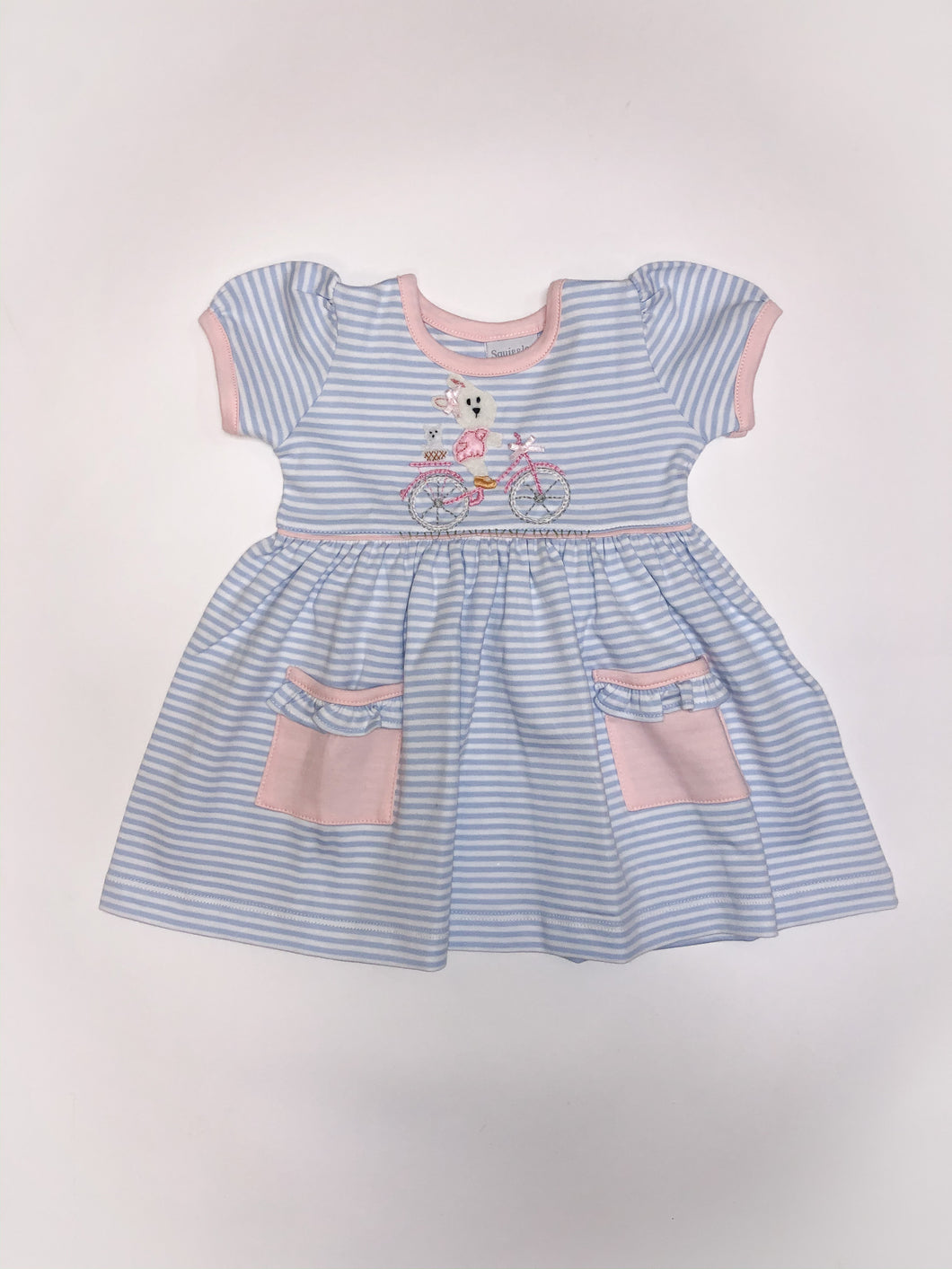 12m & 18m Bicycle Bunny Short Sleeve Popover Dress - Posh Tots Children's Boutique