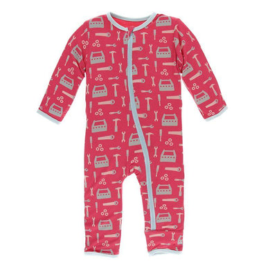 Flag Red Construction Zippered Coverall - Posh Tots Children's Boutique