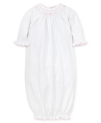 White Sack Gown w/Pink Smocking - Posh Tots Children's Boutique