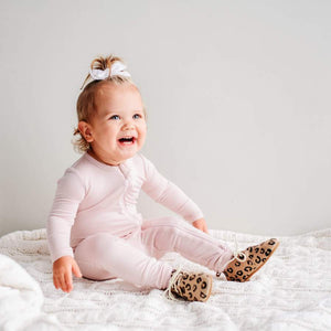 Zippered Romper in Blush - Posh Tots Children's Boutique