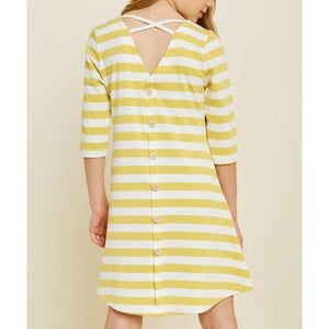 Button Down Cross Back Stripe Dress