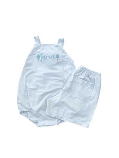 PRE ORDER Conrad Shorts - Knit Blue Gingham - Posh Tots Children's Boutique