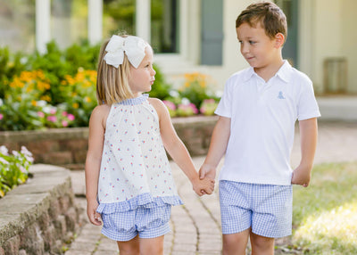 PRE ORDER Conrad Shorts - Blue Gingham - Posh Tots Children's Boutique