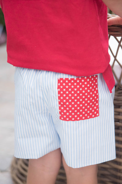 PRE ORDER Conrad Shorts - Blue Stripe - Posh Tots Children's Boutique
