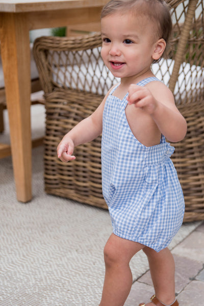 PRE ORDER Tighe Bubble - Blue Gingham - Posh Tots Children's Boutique
