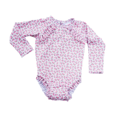 PRE ORDER Willa Watermelon Long Sleeve Swimsuit - Posh Tots Children's Boutique