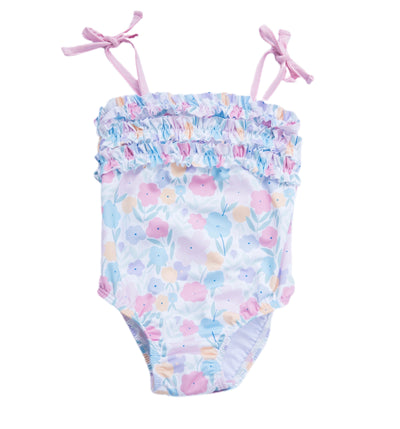 Cora Ruffle Floral Swimsuit - Posh Tots Children's Boutique