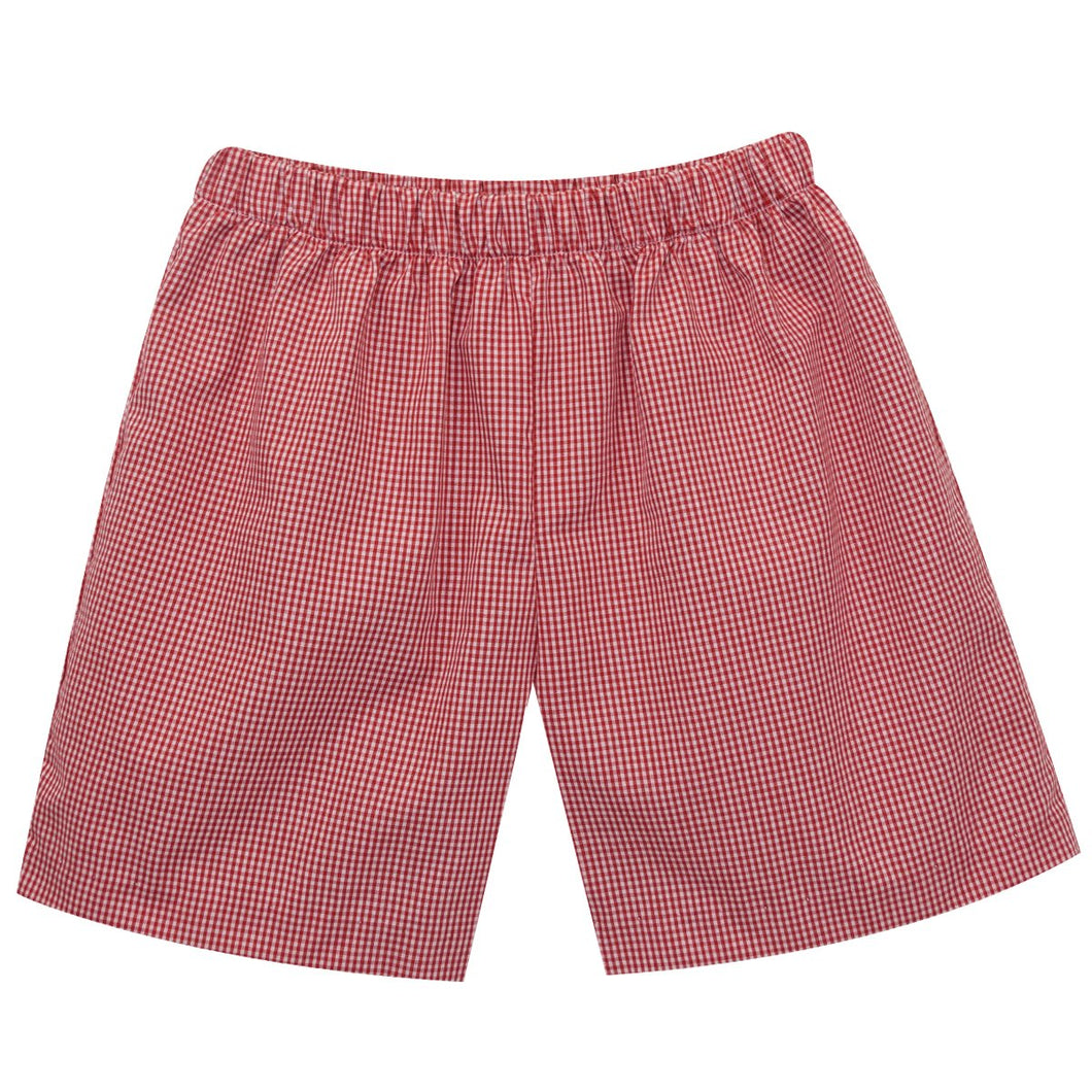 Pull On Shorts, Red Check - Posh Tots Children's Boutique