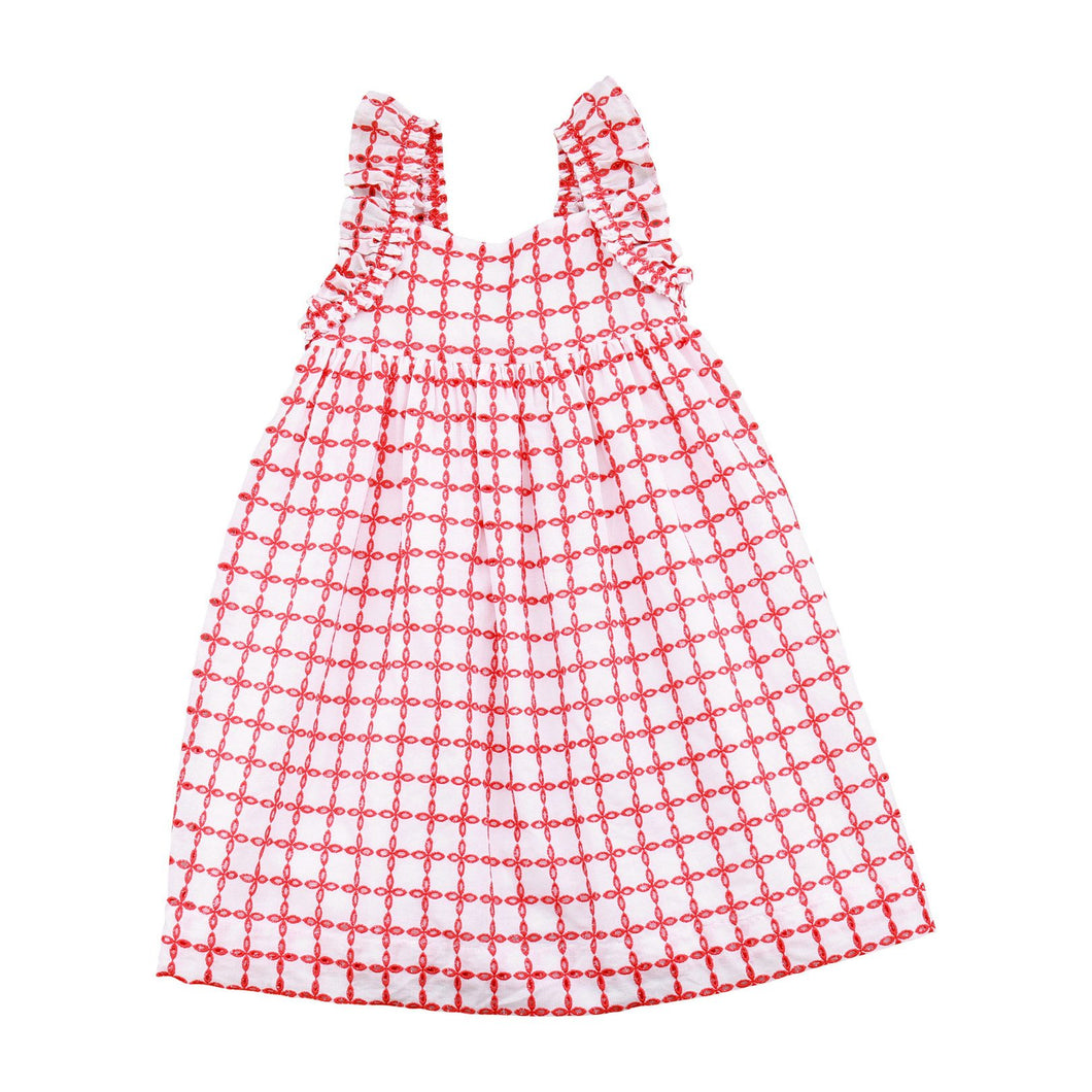 Sawyer Flutter Sleeve Dress, Red Eyelet - Posh Tots Children's Boutique