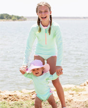Load image into Gallery viewer, Girls Mint Seersucker Long Sleeve One Piece Rash Guard - Posh Tots Children's Boutique