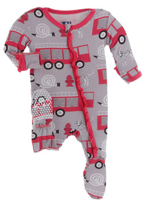 Feather Firefighter Zippered Ruffle Footie - Posh Tots Children's Boutique