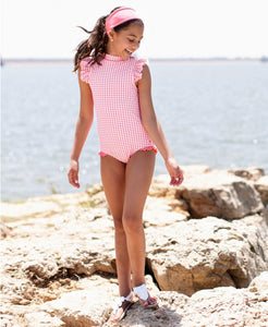 Rose Gingham Flutter One Piece - Posh Tots Children's Boutique