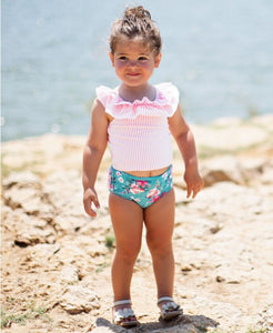 Fancy Me Floral Seersucker Ruffled Tankini - Posh Tots Children's Boutique
