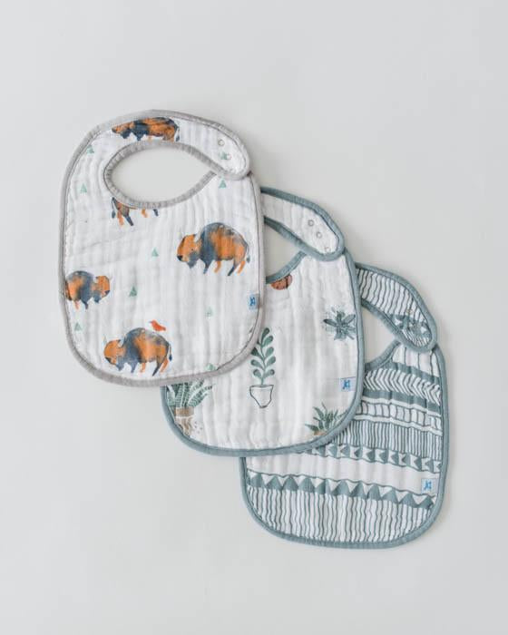 Cotton Muslin Classic Bib 3 pack- Bison - Posh Tots Children's Boutique