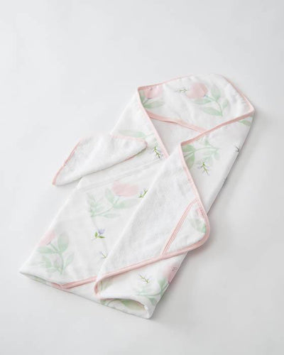 Hooded Towel & Washcloth Set -Pink Peony - Posh Tots Children's Boutique