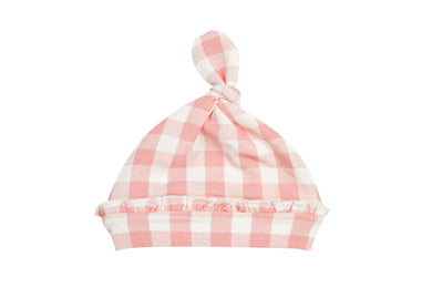 Gingham Pink Knotted Hat - Posh Tots Children's Boutique