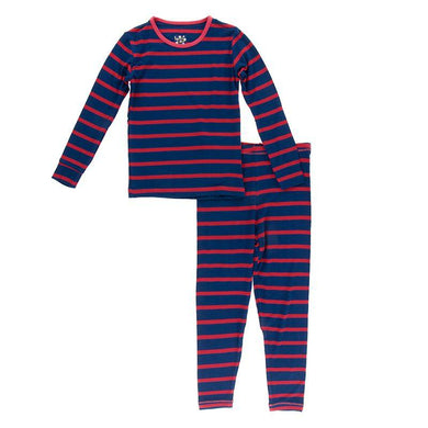 Navy Stripe Long Sleeve Pajama Set - Posh Tots Children's Boutique