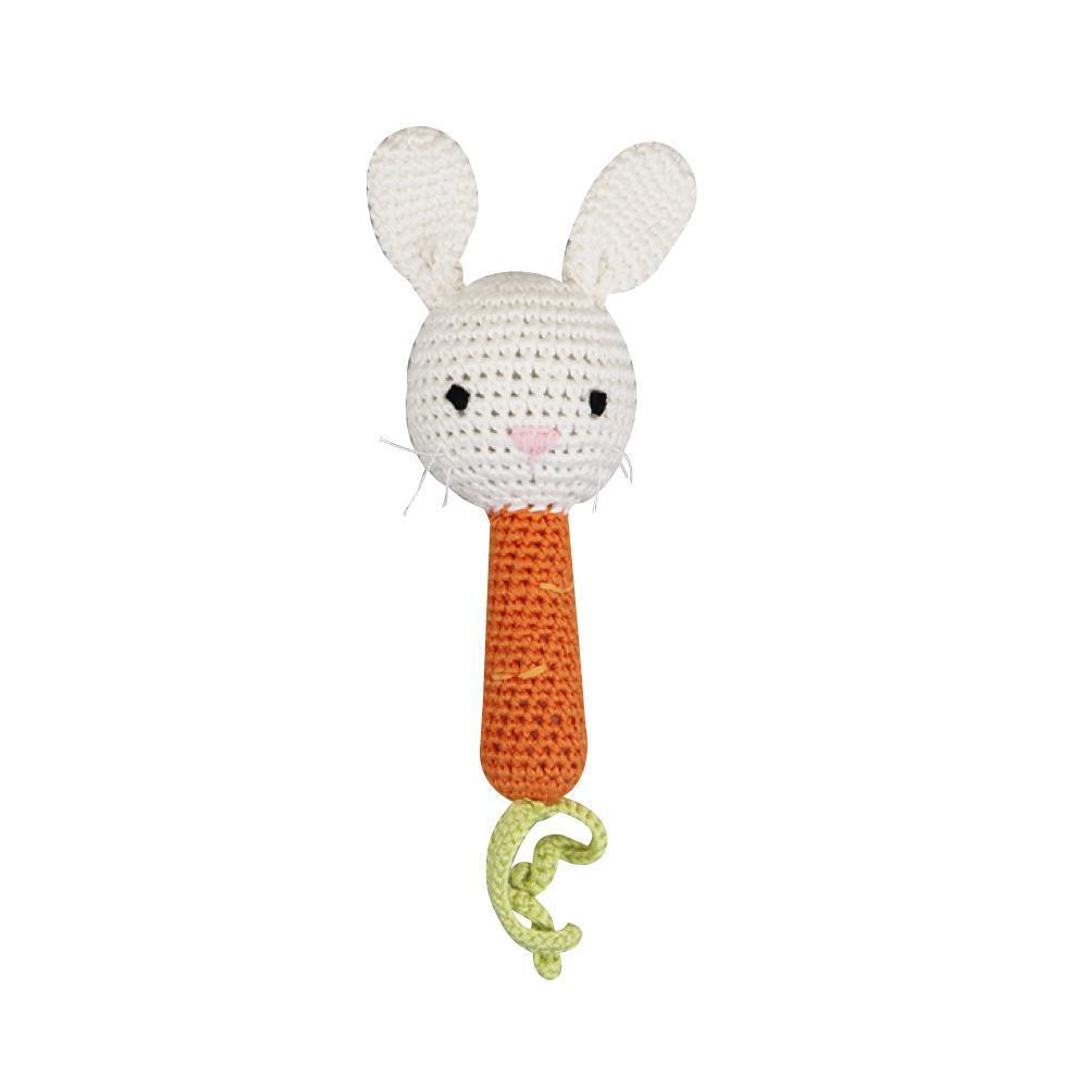Bunny Bamboo Stick Rattle - Posh Tots Children's Boutique