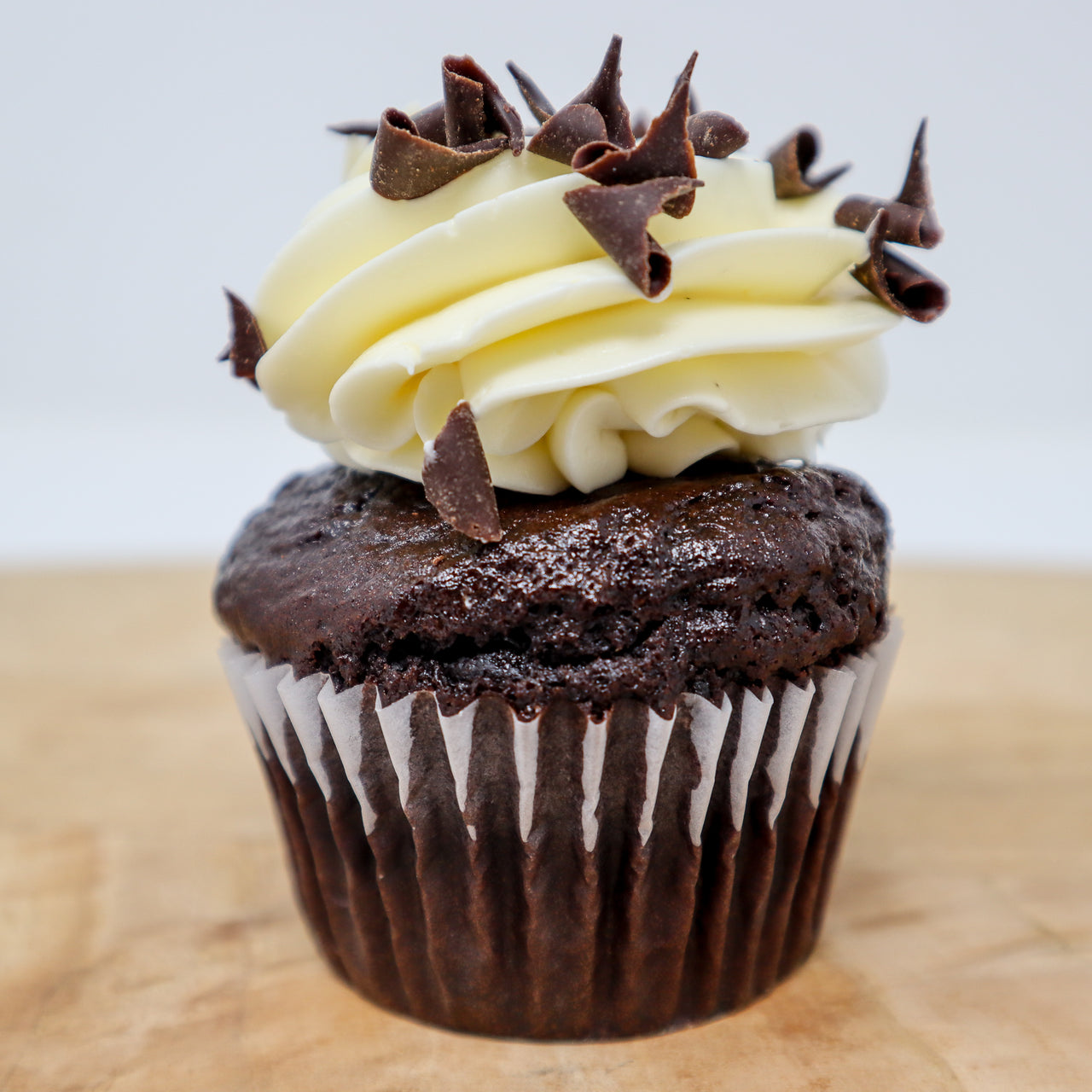 gluten-free chocolate cupcake with vanilla buttercream