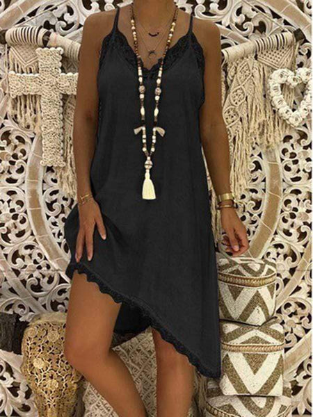 wiccous.com Plus Size Dress Black / L Plus size Lace Strap Dress