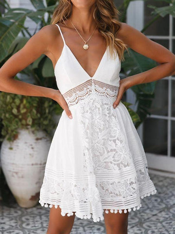 wiccous.com Mini Dress White / S V-Neck Find My Feet Lace Dress