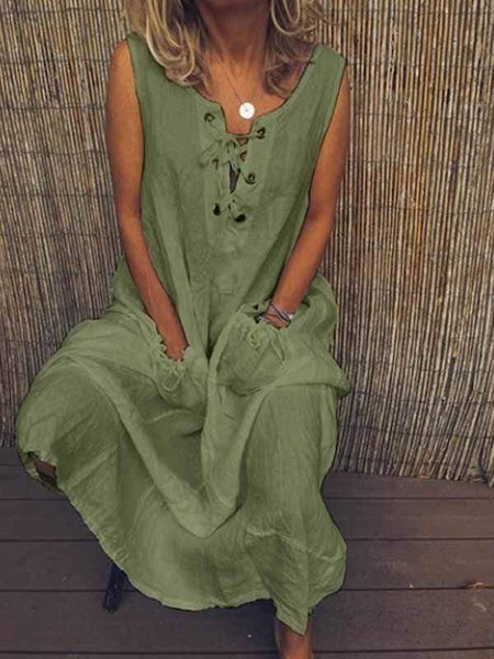 wiccous.com Plus Size Dress Army Green / S Tethered Solid Color Cotton Linen Dress