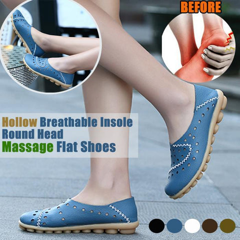 2019 Fashion Hollow Breathable Insole Round Head Massage Flat Shoes