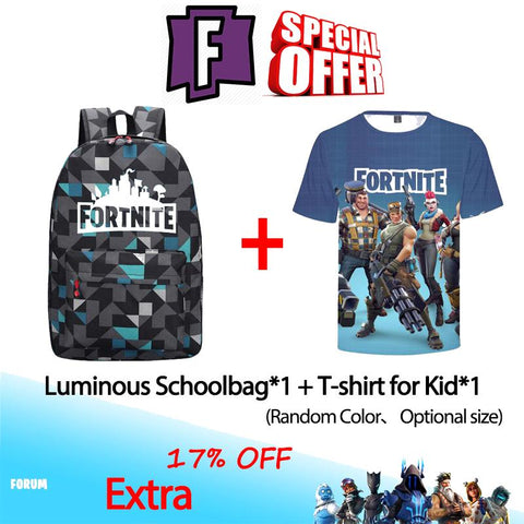 17%OFF !!Fortnite Luminous Schoolbag and T-shirt For Kids