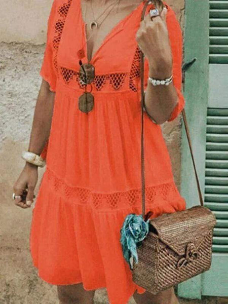wiccous.com Plus Size Dress Orange / L Plus size openwork lace V-neck dress