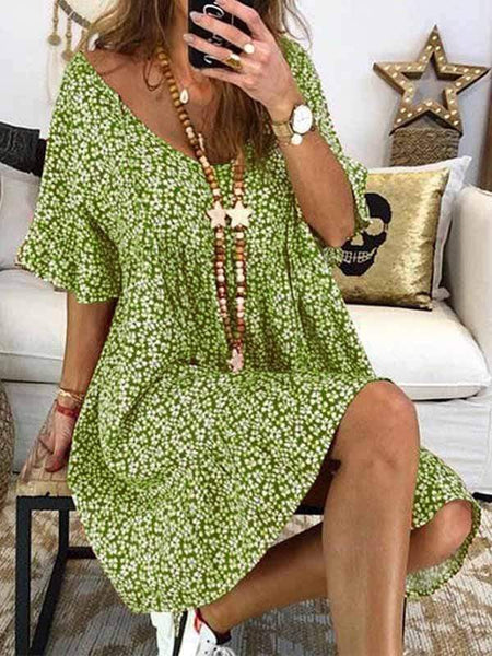 wiccous.com Plus Size Dress Green / S Short Sleeve Printed Dress