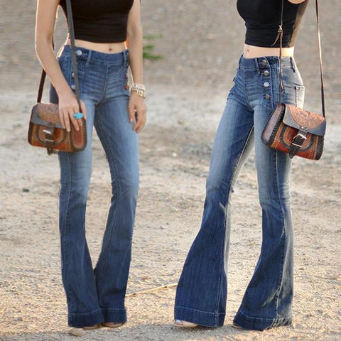 70s Sailor Style Stretchy Bell-bottom Jeans