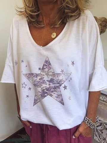 wiccous.com Plus Size Tops White / S Star Print T-Shirt