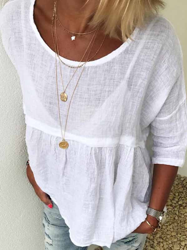 Solid Color Linen Bamboo Long Sleeve Pullover
