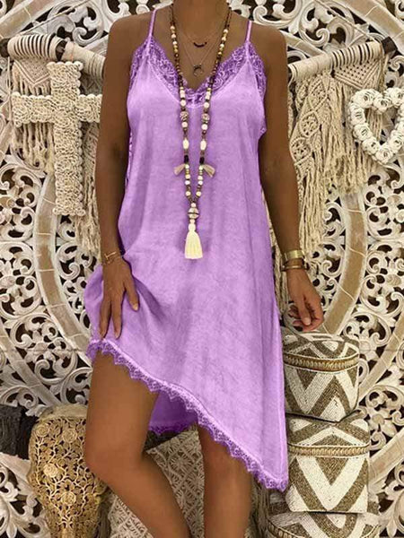 wiccous.com Plus Size Dress Purple / L Plus size Lace Strap Dress