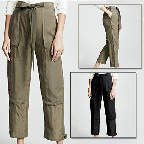 Retro Drawstring Casual Straight Pants