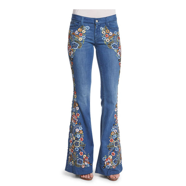 70s Floral Embroidered Bell Bottom Jeans