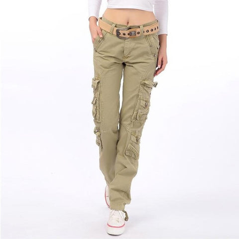 2019 New Women's cotton Cargo Pants Leisure Trousers more Pocket pants pants