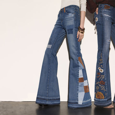 Color Block Stitching Patch Flare Jeans
