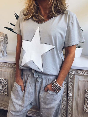 Plus size star print T-shirt