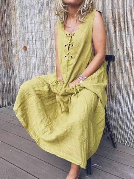 wiccous.com Plus Size Dress Light Green / S Tethered Solid Color Cotton Linen Dress