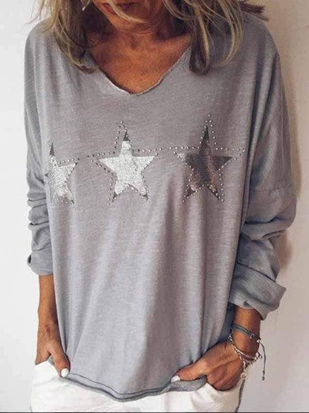 wiccous.com Plus Size Tops Grey / S Star Print Long Sleeve Top