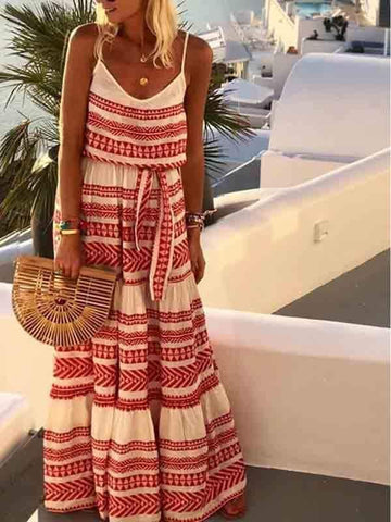 wiccous.com Maxi Dress Red / S Bohemian V-neck Printed Sling Beach Dress